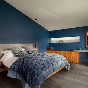 Contemporary bedroom: walnut, grey, blue