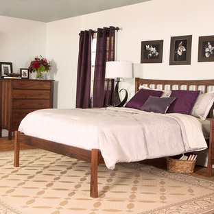 Mid-sized trendy master bedroom photo in Burlington with white walls