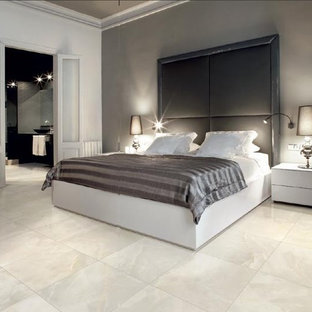 Example of a large trendy master porcelain floor bedroom design in New York with green walls
