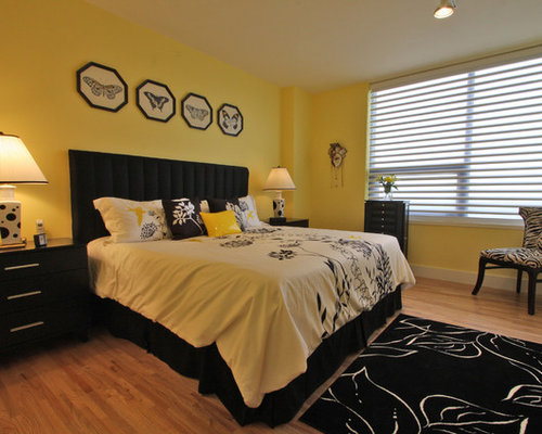 Black and yellow bedroom design ideas remodels photos for Black and yellow bedroom designs