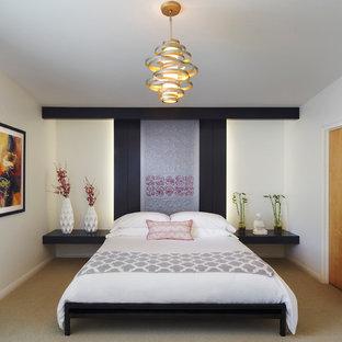 Ispirazione per una camera matrimoniale etnica di medie dimensioni con pareti bianche, moquette, nessun camino e pavimento beige