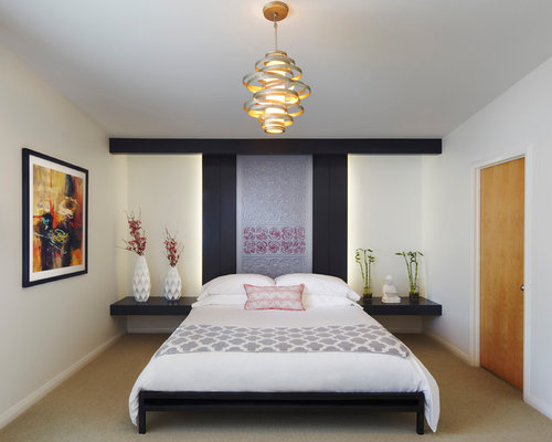 Mid Sized Asian Master Bedroom Photo In Miami With White Walls, Carpet And  Beige Part 59