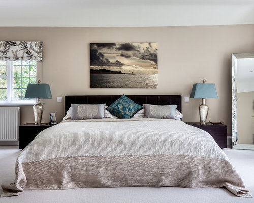 Contemporary Master Carpeted Bedroom Idea In Surrey With Brown Walls