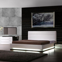 Contemporary Platform Bed with Lights - Features: