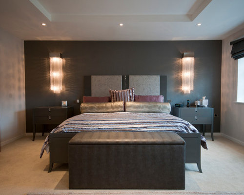 contemporary bedroom idea in manchester with gray walls carpet and beige floors - Dark Furniture Bedroom Ideas