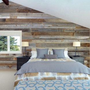 Bedroom - contemporary master carpeted bedroom idea in Calgary with gray walls