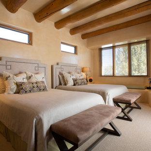 Идея дизайна: гостевая спальня среднего размера с бежевыми стенами, ковровым покрытием, угловым камином и фасадом камина из штукатурки
