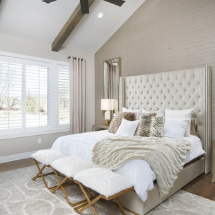 Inspiration for a transitional master dark wood floor bedroom remodel in Wichita with beige walls