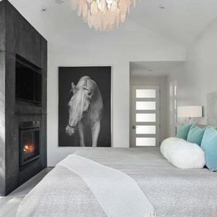 Ispirazione per una camera matrimoniale minimalista di medie dimensioni con pareti bianche, pavimento in gres porcellanato, camino classico e cornice del camino in pietra