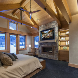Photo of a large contemporary master bedroom in Denver with beige walls, carpet, a standard fireplace, a stone fireplace surround and blue floor.