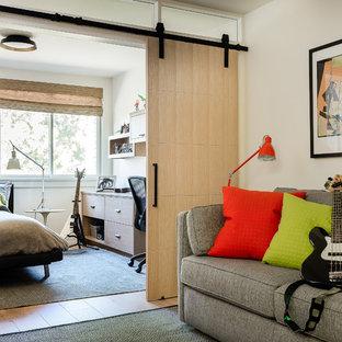 Contemporary Teen Bedroom with Barn Doors