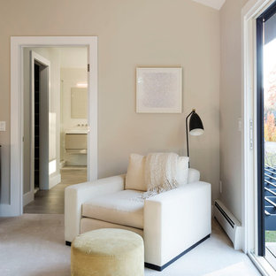 Example of a transitional master carpeted and white floor bedroom design in New York with gray walls