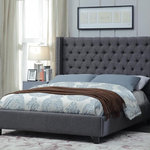 Arlo Linen Bed Transitional Platform Beds By