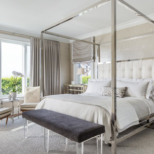 Inspiration for a large transitional master carpeted bedroom remodel in San Francisco with no fireplace and beige walls