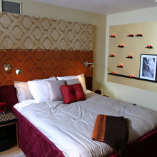 Eclectic Bedroom cool headboard