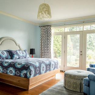 Bedroom - eclectic medium tone wood floor bedroom idea in Portland with blue walls