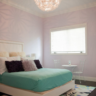 Inspiration for a contemporary bedroom remodel in Miami with purple walls