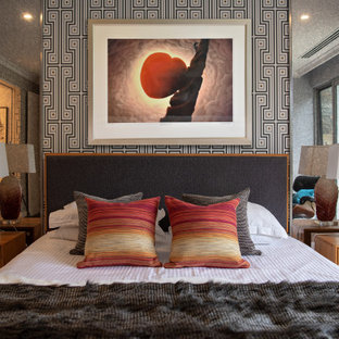 Inspiration for a midcentury bedroom in Perth with multi-coloured walls.