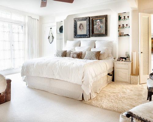 Traditional Carpeted Bedroom Idea In Austin With Beige Walls