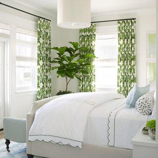 サンディエゴの中くらいのビーチスタイルのおしゃれな主寝室 (淡色無垢フローリング、白い壁) のインテリア