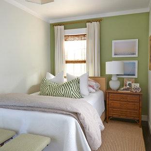Exempel på ett litet exotiskt gästrum, med gröna väggar och mörkt trägolv