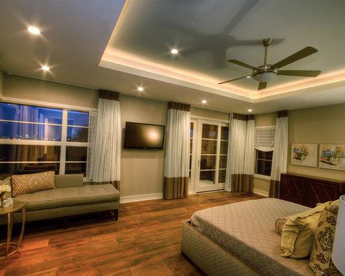 Contemporary Master Dark Wood Floor Bedroom Idea In Austin With Gray Walls