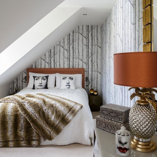 Small contemporary guest bedroom in Oxfordshire with grey walls, carpet and beige floors.