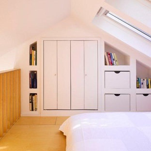 Contemporary loft-style bedroom in Dublin with white walls and plywood floors.