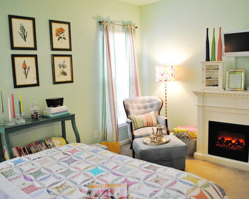Eclectic Bedroom Idea In Charlotte With A Standard Fireplace