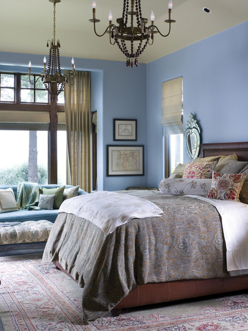 Traditional Bedroom Idea In Portland With Blue Walls