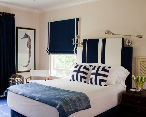Eclectic blue floor bedroom photo in New York with beige walls. Navy Blue And White   Houzz