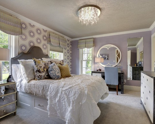 Transitional Bedroom Photo In Minneapolis With Purple Walls
