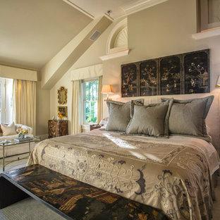 Bedroom - asian master carpeted and beige floor bedroom idea in Chicago with beige walls