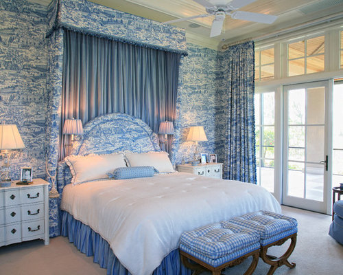 traditional bedroom idea in miami with blue walls