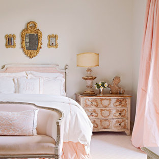 Inspiration for a shabby-chic style guest carpeted and pink floor bedroom remodel in Houston with white walls and no fireplace