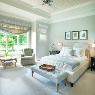 This is an example of a traditional bedroom in Nashville with grey walls, carpet and no fireplace.