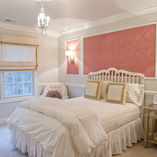 Inspiration for a timeless carpeted bedroom remodel in New York with gray walls