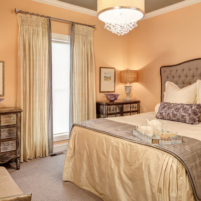 Bedroom - traditional carpeted bedroom idea in Louisville with beige walls