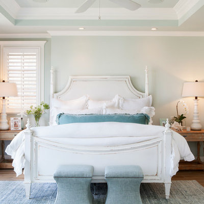 Example of a mid-sized beach style master medium tone wood floor bedroom design in Orange County with green walls