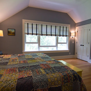 Large arts and crafts master light wood floor bedroom photo in Milwaukee with blue walls