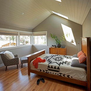 Inspiration for a mid-sized craftsman loft-style medium tone wood floor bedroom remodel in San Francisco with green walls and no fireplace