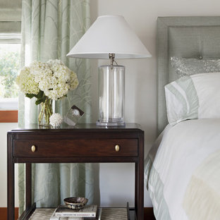 Transitional bedroom photo in Los Angeles with white walls
