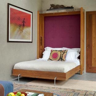 Example of a mid-sized eclectic guest concrete floor bedroom design in New York with gray walls