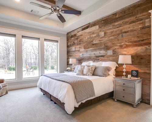 741 Farmhouse Bedroom With Gray Walls Design Ideas