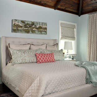 Bedroom - mid-sized traditional master dark wood floor bedroom idea in Atlanta with blue walls and no fireplace
