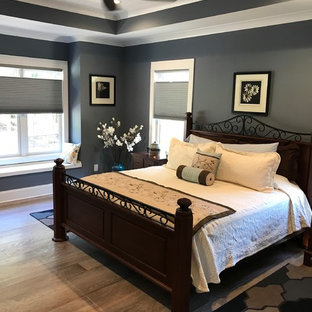 This is an example of a mid-sized arts and crafts master bedroom in Raleigh with grey walls, medium hardwood floors, no fireplace and brown floor.