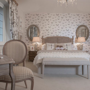 Bedroom - farmhouse carpeted bedroom idea in Berkshire with multicolored walls
