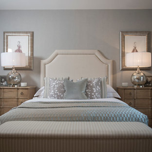 Country carpeted bedroom photo in Berkshire with gray walls