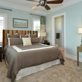 Example of a small beach style master carpeted and beige floor bedroom design in Tampa with blue walls and no fireplace