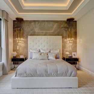 Ejemplo de dormitorio principal, clásico renovado, con paredes grises y suelo de ladrillo
